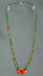 Polished Turquoise w/7 Red Coral Tabs & Coral Beads 22""